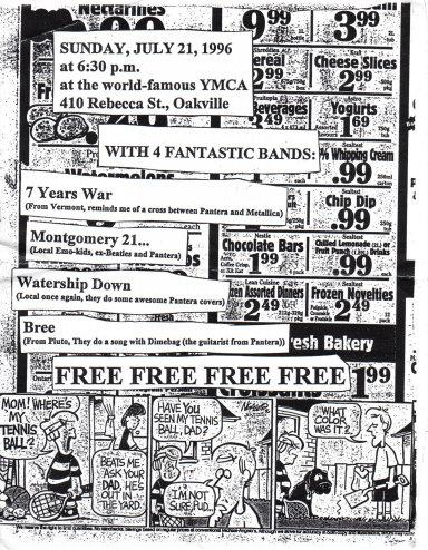 Bree show at the Oakville YMCA on July 21st 1996. With Montgomery 21, 7 Years War, Waterdown and Bree
