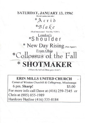January 13th 1996, the first Acrid show.