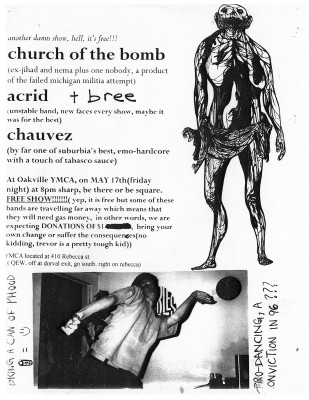 Bree show at the Oakville YMCA on May 17th 1996. With Church of the Bombs, Acrid and Chauvez.