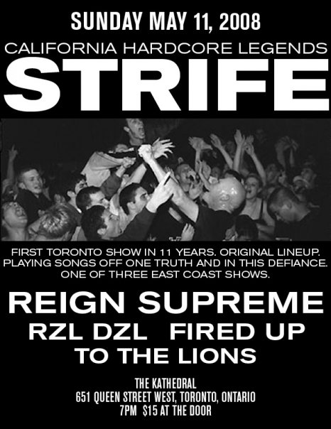Poster for To the Lions mini tour with Strife, Reign Supreme and Fired up. Last date in Toronto.