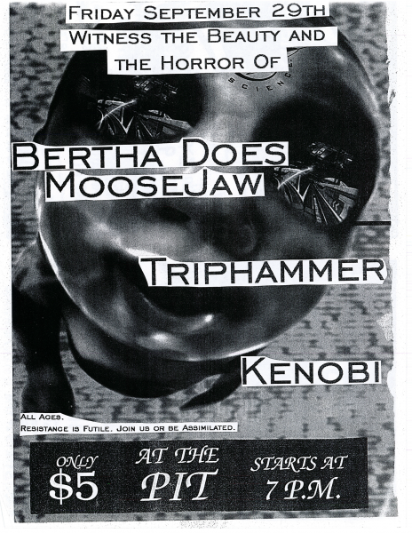 Kenobi performing at The Pit on September 29th 1994 with Bertha Does MooseJaw and Triphammer