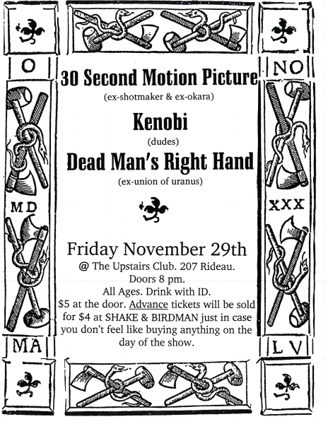 Kenobi performing at The Upstairs Club on November 29th 1996 with 30 Second Motion Picture and Dead Man's Right Hand