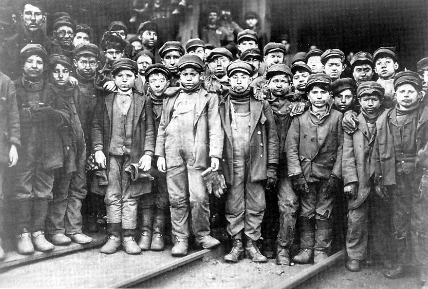 "Picture of children coal miners in Pennsylvania circa 1911, used for the Culture / Roosevelt split 7"" repress"