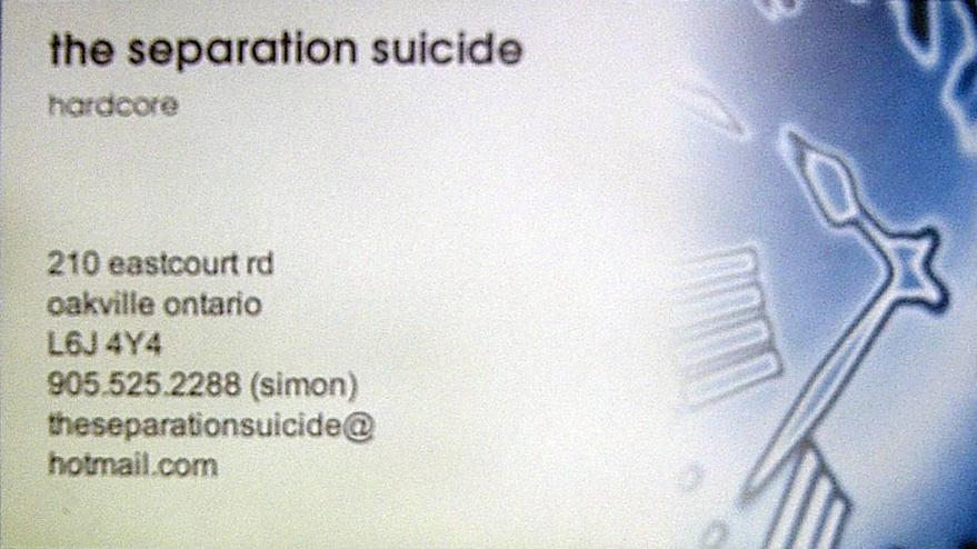 The Separation Suicide, Hardcore. Business cards printed by Simon
